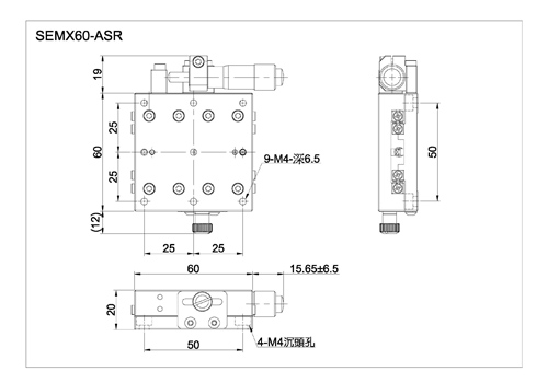 x axis crossed roller bearing stage with micrometer head SEMX40-ASR